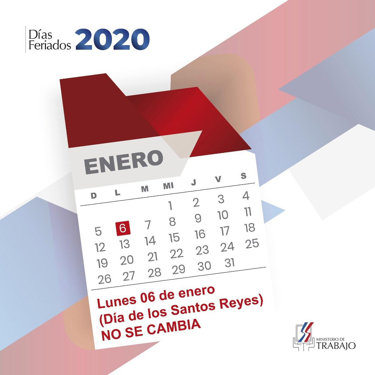 """Ministerio de Trabajo reitera feriado """"Día de los Santos Reyes"""" no se cambia"""